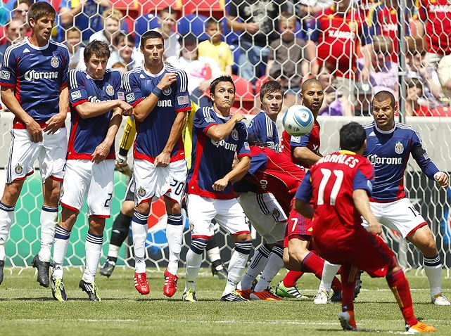 The look of fear is prevalent across the entire Chivas USA line during this penalty shot from Real Salt Lake's Javier Morales in the first half of Real's 1-0 victory.