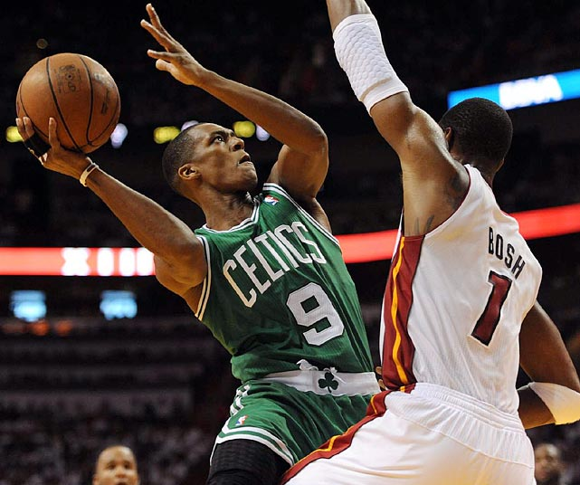 Perhaps in anticipation of his Game 3 injury, Rajon Rondo goes up for a layup using only his right arm during the Celtics' 102-92 loss to the Miami Heat in Game 2 of the Eastern Conference semifinals. Rondo would dislocate his left elbow in Game 3 in Boston.