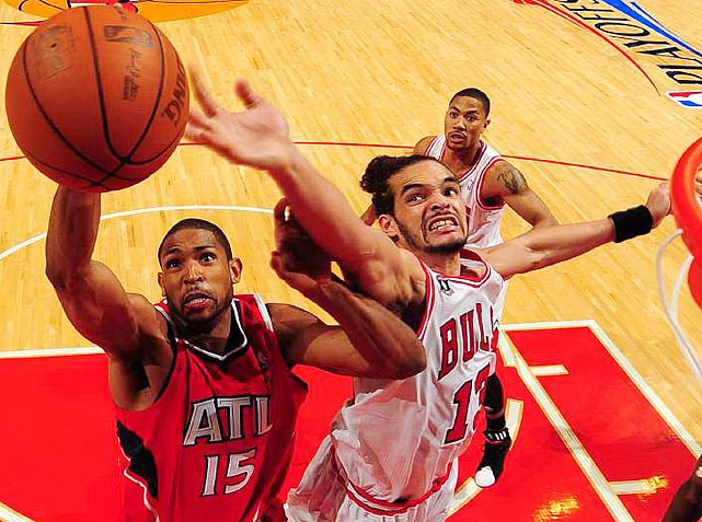Joakim Noah's (right) frenetic energy netted the former Florida Gator 19 points and 14 rebounds as the Bulls tied the series 1-1 with an 86-73 victory in Game 2 of the Eastern Conference semifinals.