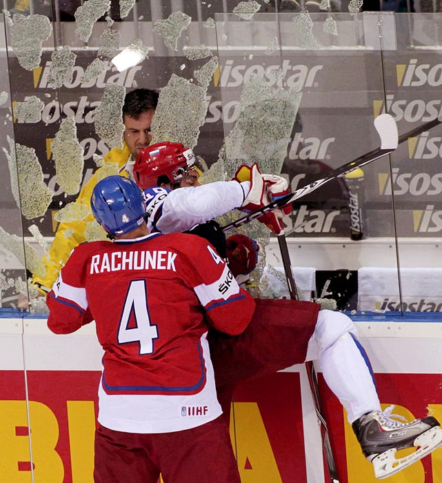Things got physical when the Czech Republic took on Russia for the bronze medal at the hockey world championships in Bratislava, Slovakia. Led by Roman Cervenka (not pictured), who had a hat trick, the Czech Republic defeated Russia 7-4.