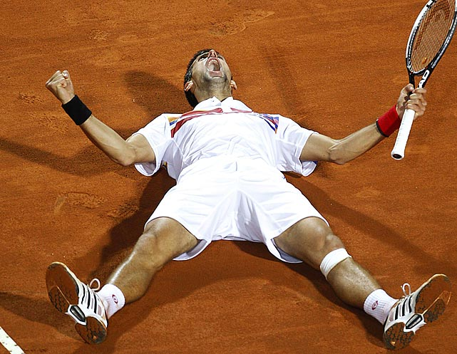 When you beat Rafael Nadal on clay, you've earned the right to celebrate. At least that's what Novak Djokovic thought after he downed the Spaniard in the finals of the Rome Masters tournament.