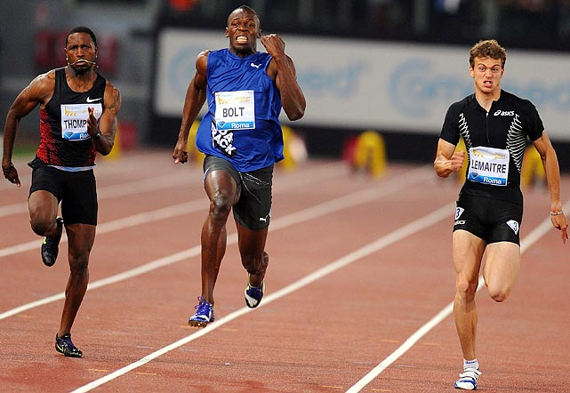 Usain Bolt (center) was far from 100 percent, but he still bested the field during the men's 100 meter at the Rome Golden Gala on May 26. The race was Bolt's first of 2011.