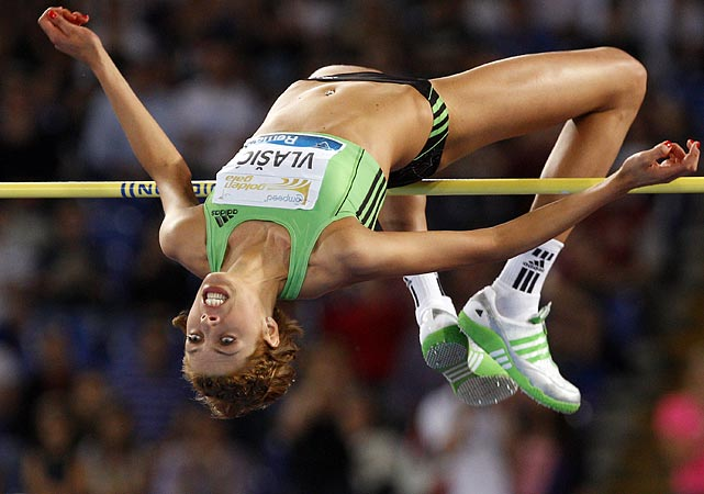 Well, that looks painful. Croatia's Blanka Vlasic narrowly makes it over the bar during the women's high jump event at the Rome Golden Gala on May 26.