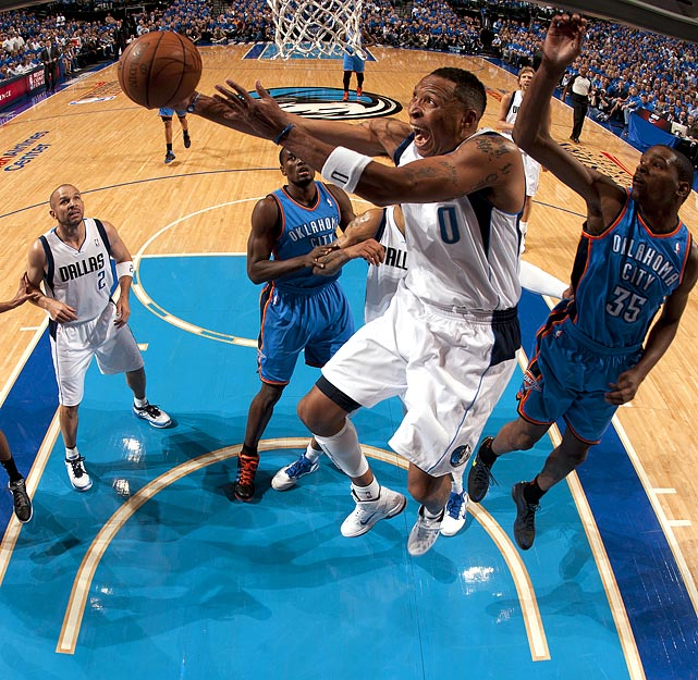 Dallas Mavericks forward Shawn Marion goes to the rim against the Oklahoma City Thunder during the Mavericks' 100-96 win in the series-clinching Game 5 of the Western Conference finals. Marion would score 26 points in the victory.