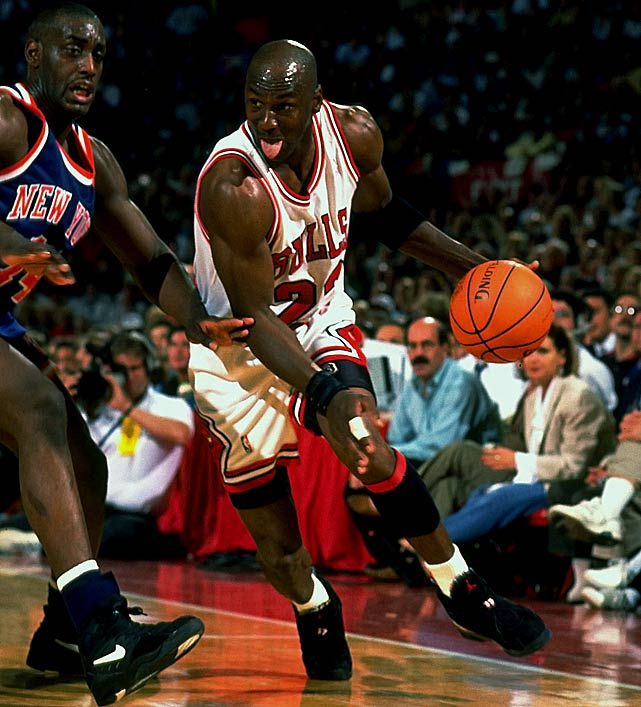 Michael Jordan scored 54 points, the most ever allowed by the Knicks in a playoff game, to help the Bulls tie the Eastern Conference Finals at two games apiece. The Bulls also took the next two games en route to their third straight championship.