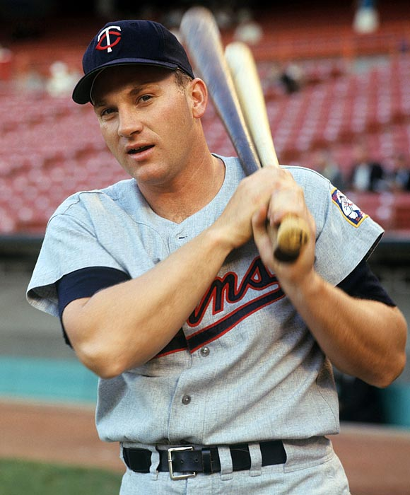 Hall of Famer Harmon Killebrew warms up in the on-deck circle. Killebrew played for the Twins from 1961 to 1974.