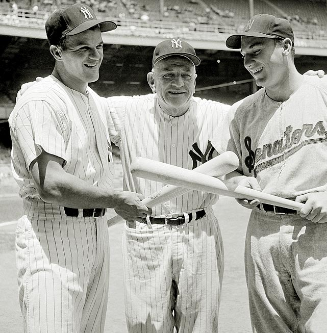 Killebrew, then with the Senators, poses with the Yankees' Bill Skowron and Casey Stengal. Killebrew led the majors with 42 home runs during the season.