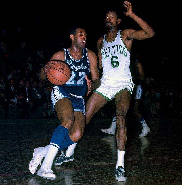 Baylor erupted for a Finals-record 61 points and grabbed 22 boards as the Lakers won 126-121 at Boston Garden to take a 3-2 series lead. But the Celtics rallied to win Games 6 and 7 (including a 110-107 OT victory in the clincher) in a classic first Finals meeting between L.A. and Boston.