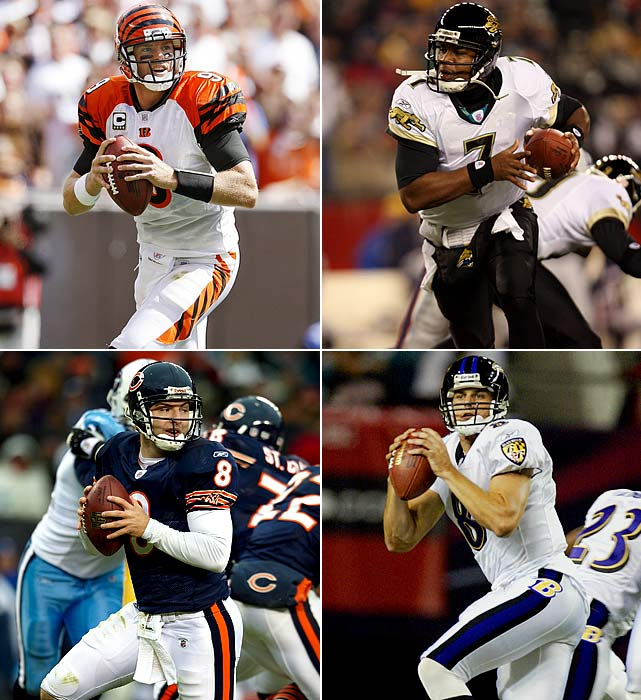 Clockwise from top left: #1: Carson Palmer (USC), Cincinnati Bengals #7: Byron Leftwich (Marshall), Jacksonville Jaguars #19: Kyle Boller (California), Baltimore Ravens #22: Rex Grossman (Florida), Chicago Bears