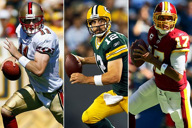 #1: Alex Smith (Utah), San Francisco 49ers #24: Aaron Rodgers (California), Green Bay Packers #25: Jason Campbell (Auburn), Washington Redskins