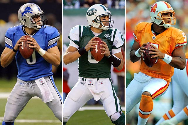 #1: Matthew Stafford (Georgia), Detroit Lions #5: Mark Sanchez (USC), New York Jets #17: Josh Freeman (Kansas State), Tampa Bay Buccaneers