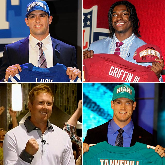 Clockwise from top left: #1: Andrew Luck (Stanford), Indianapolis Colts #2: Robert Griffin III (Baylor), Washington Redskins #8: Ryan Tannehill (Texas A&M), Miami Dolphins #22: Brandon Weeden (Oklahoma State), Cleveland Browns