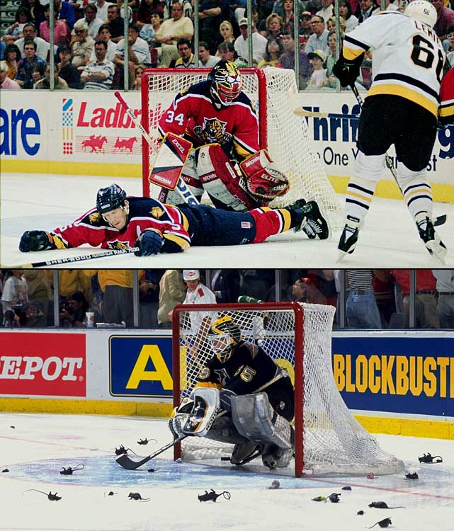In only their third season, the Panthers made their first playoff appearance count by reaching the Stanley Cup Final after stunning Mario Lemieux's Penguins in seven games. Florida won the opener, 5-1, in Pittsburgh, lost a 3-2 squeaker in Game 2, and took Game 3 handily, 5-2, by blitzing Penguins goalie Tom Barrasso with 61 shots. But 2-1 and 3-0 losses put Florida in a 3-2 hole. At home for Game 6, before 14,703 plastic rat-throwing fans (an homage to Scott Mellanby having scored two goals earlier that season with a stick he'd used to kill a rat in the locker room), the Panthers erased a 2-1 Pens lead in the second period and won, 4-3. Goalie John Vanbiesbrouck was brilliant in Game 7 (39 saves)as Florida won on the road when Tom Fitzgerald snapped 1-1 tie in the third period with a 58-foot slapshot and Johan Garpenlov added the clincher with less than three minutes left to play.