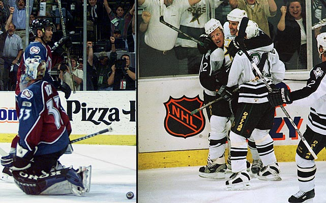 """Colorado took a three-games-to-two lead with Patrick Roy besting the Presidents' Trophy-winning Stars in Game 4, 3-2 in OT, and the Avs winning a 7-5 shootout in Game 5. But Dallas's defense clamped down on the speedy Avs while winning the next two matches by 4-1 scores. In Game 7, former Av Mike Keane beat Roy twice in a 4:05 span of the second period as Dallas opened a 3-0 lead and continued on to winning its first Stanley Cup. """"There are a lot of talented teams in the NHL, and there are probably teams with a higher skill level than our team ... but I have never seen a group that pulls the way this group does,"""" said Stars coach Ken Hitchcock. """"They take an awful lot of pride in not cracking."""""""