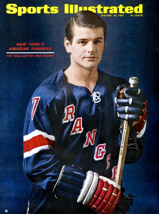 The Hall of Famer winger was a scoring star in the OHA, but his debut with the Rangers was delayed by a broken bone in his back, suffered on the last day of the 1959-60 regular season. He was later twice an emergency call-up to New York for one game in each of the next two seasons, and didn't get a serious chance to prove himself in the NHL until he was summoned for the Rangers' semifinal playoff series vs. Toronto. Gilbert made an instant splash by scoring five points in four games (the Rangers fell in six), presaging his making the team for good out of training camp the next season and scoring 31 points in 70 games as a rookie.