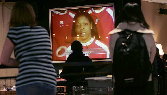 Rutgers player Kia Vaughn appeared on the show after suing radio show host Don Imus for comments he made about the team.