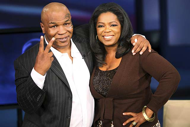 In September 2009, Mike Tyson made his first appearance on Oprah. He made a second visit with Evander Holyfield in October 2009, during which he apologized for the ear-biting incident in their heavyweight title bout.