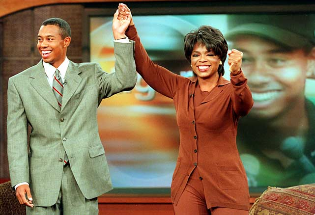 A then-single Tiger Woods took to Oprah's famous couch in April 1997, after winning the Masters.