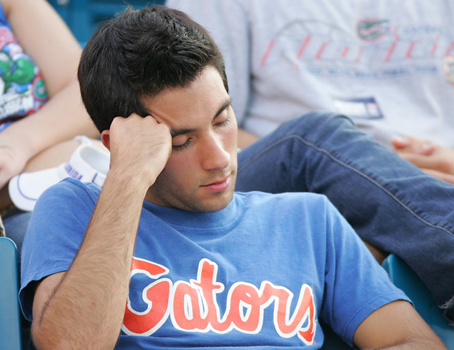"This Gator fan may have enjoyed himself a little too much at ""The World's Largest Outdoor Cocktail Party"" and didn't save enough energy for the game against Georgia."