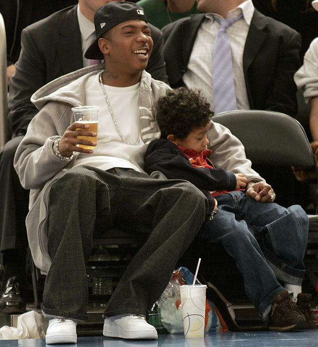 Rapper Ja Rule's young son catches some Z's during a Heat-Knicks game at Madison Square Garden.