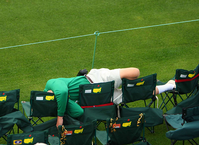 The excitement of the Masters isn't enough to keep this golf fan from catching up on his sleep.