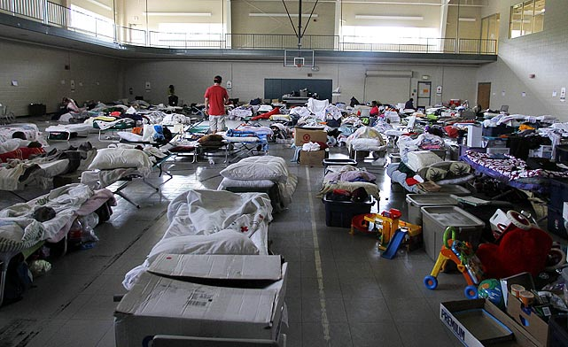 Residents left homeless by the tornado find shelter at the Belk Center. The tornado cut nearly a mile-wide swath through the town.