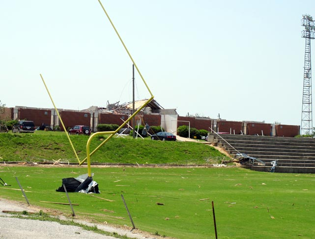 The goalposts on the football field at Hackleburg High School in Hackleburg, Ala., show the effects of the tornado. The school was one of 18 across the state that was destroyed or heavily damaged by the storm.