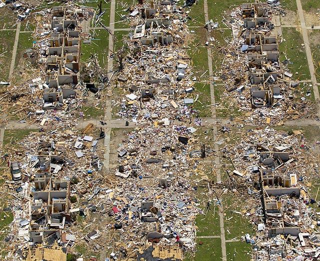 This is an aerial view of the damage to Tuscaloosa, Ala., as cleanup efforts continue of May 7. The most devastating tornado in state history struck the town on April 27, killing 41 people in Tuscaloosa and 238 across the state.
