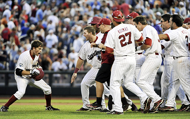South Carolina's Scott Wingo (left) celebrates after knocking in the winning run in the bottom of the ninth inning. Wingo finished 4-for-4 and scored a run.