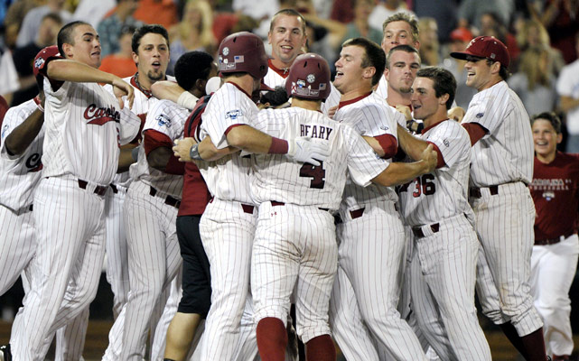 Adam Matthews scored in the bottom of the 13th inning after Virginia reliever Cody Winiarski botched two throws after fielding bunts, sending defending national champion South Carolina back to the College World Series finals with a 3-2 victory Friday night.