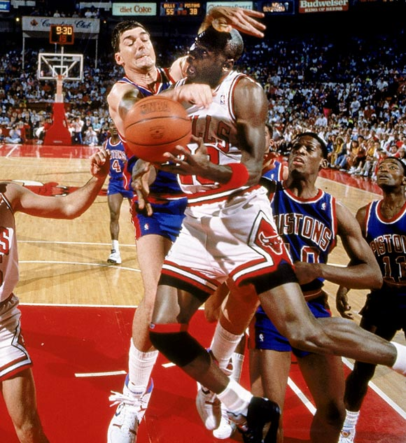 Some said the Detroit Pistons of the late 1980s played dirty. Others said it was just aggressive. But either way, the Pistons were champions. Relying on physical defense, Bill Laimbeer, Isiah Thomas, Joe Dumars, Dennis Rodman and the rest of the Bad Boys pushed, shoved, elbowed and beat their opponents. Detroit defeated Michael Jordan's Bulls on the way to NBA titles in 1989 and 1990.