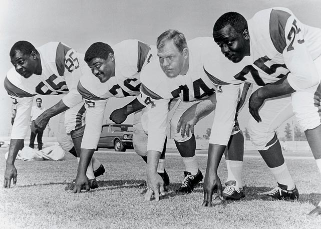The Los Angeles Rams had two future Hall of Famers on its defensive line in the'60s with the Fearsome Foursome. The quartet, comprised of Rosey Grier, Deacon Jones, Lamar Lundy and Merlin Olson, imposed their will on opposing offenses.