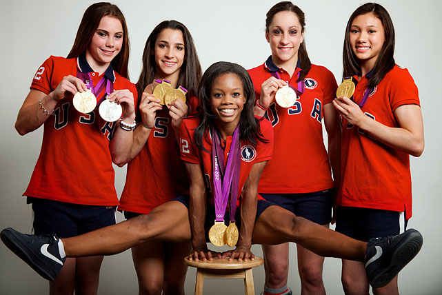 "Living up to their name and the lofty hype surrounding them, the Fierce Five -- Gabby Douglass, McKayla Maroney, Aly Raisman, Kyla Ross and Jordyn Wieber -- became the second U.S. women's gymnastics team to win Olympic gold, claiming the top of the podium at the 2012 Summer Olympics. Originally known as the Fab Five, the group opted for an adjective change after Jalen Rose of the famous Michigan basketball Fab Five complained. Maroney and Wieber chose ""fierce"" because they said it described their floor routines."