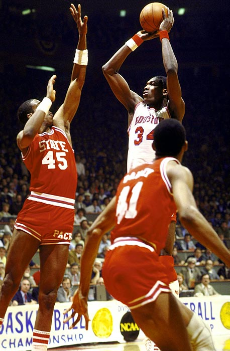 Houston seemed to have one goal: to finish a fast break with a high-flying, thundering dunk. Their awe-inspiring jams earned the squad a nickname that combined college Greek life with the slam dunk. The Cougars, featuring Akeem Olajuwon and Clyde Drexler, also suffered one of the NCAA tournament's biggest upsets: a 62-60 loss to Jim Valvano's N.C. State team in the 1983 championship game.