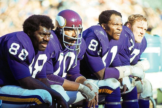 "The Vikings' defensive line from the late-1960s to the late-1970s had an unofficial motto: ""Meet at the quarterback."" Nicknamed after Sheb Wooley's 1958 hit song, the line primarily featured Alan Page, Carl Eller (both Hall of Famers), Jim Marshall and Gary Larsen. Minnesota advanced to the Super Bowl four times between 1970 and 1977 but lost each time."