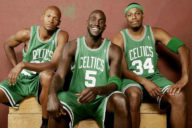 In a pair of blockbuster deals,  general manager Danny Ainge assembled an elite trio to lead the 2007-08 Boston Celtics. Ainge first acquired Seattle SuperSonics sharpshooter Ray Allen with a  draft night deal, and then procured 2004 MVP Kevin Garnett from the Minnesota Timberwolves. The two star acquisitions combined with long-time Celtic Paul Pierce to spark the largest one-year improvement in NBA history, finishing the 2007-08 season 66-16, 42 games better than the prior season's Celtics. The Big Three capped off the season with a championship and made another NBA Finals appearance in 2010.