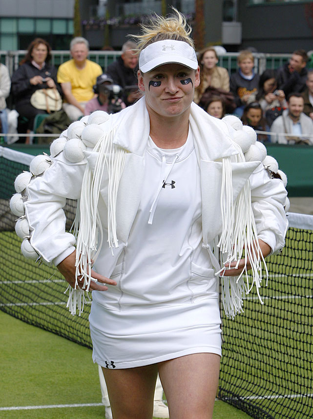 Eye black, animal prints, tube socks, cowboy hats, tattoos. Bethanie Mattek-Sands has consistently pushed the boundaries of tennis fashion since turning pro in 1999. The American hardly disappointed at 2010 Wimbledon, sporting a tennis-inspired warmup jacked created by one of Lady Gaga's designers. Here's a look at some of her memorable fashion statements through the years.