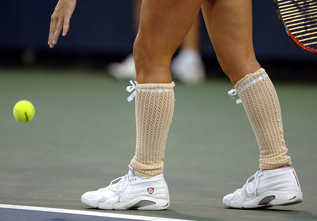 ... but it was the crocheted beige knee-high socks that really set her U.S. Open outfit apart.