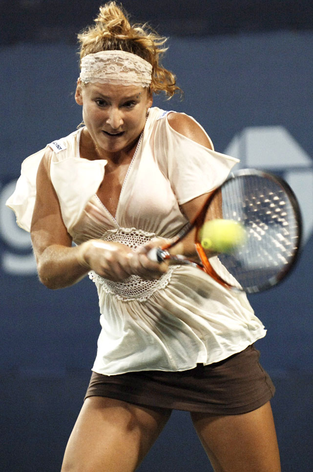 Mattek-Sands wore a loosely draped beige top with a crocheted waist and split sleeves that resembled a toga at the 2006 U.S. Open ...