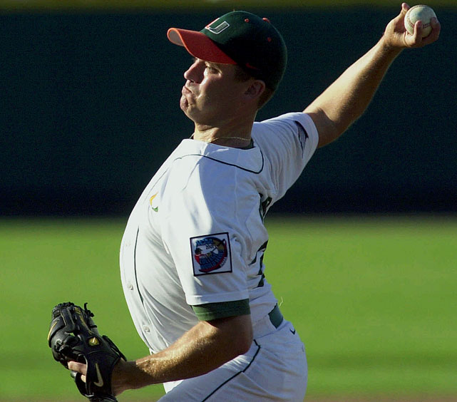 When you only had one game to decide who would be national champs, you had to make sure the right guy was on the mound. Miami opted for Tom Farmer, who tossed 5 2/3 innings and allowed only one earned run en route to the Hurricanes' 12-1 throttling of the Cardinal in 2001.