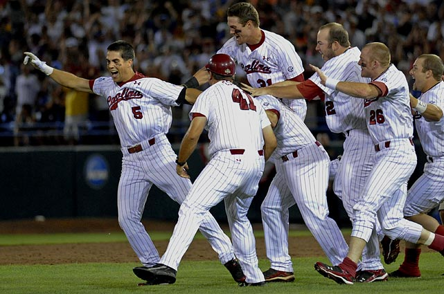 After spanking UCLA in the first game of the series, South Carolina needed an eight-inning run to help send the game to extras. In the bottom of the 11th, Whit Merrifield (left) knocked a single to right to score the series-winning run. It was his only hit of the game in five at-bats.