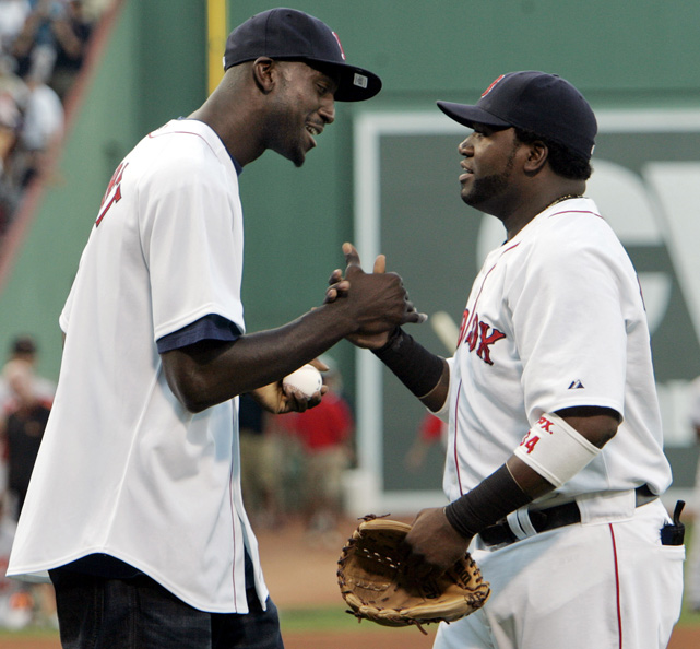 Ortiz daps up new Celtic Kevin Garnett as the Big Ticket threw out the first pitch at Fenway Park in August 2007. Garnett would later help lead the Celtics to their first NBA title since 1986.