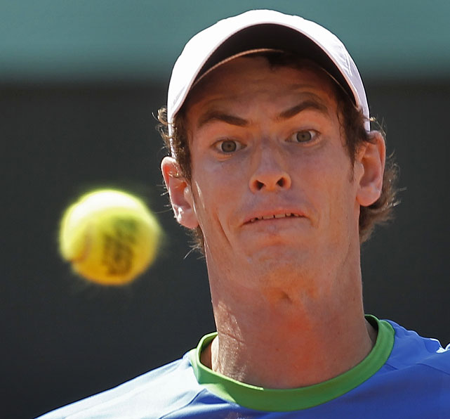 Andy Murray focuses on the ball during Friday's match.