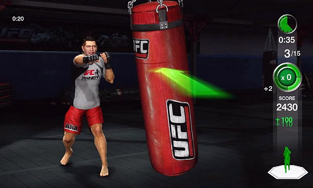 UFC Personal Trainer pushes the video game genre further away from its couch potato origins with yet another workout title that implores you to get up and move.  Start by setting your vitals with traditional exercises like sit-ups, push-ups and jumping jacks, then get ready for a pounding. Muay Thai, kickboxing and wrestling are all incorporated into over 70 exercises and the mixed martial arts distinguish Personal Trainer from standard workout titles. If you need proof that all of these crazy new exercises are actually working, you can track your progress during 30- and 60-day workout plans that chart categories like calories burned and weight lost.  The exercises are all great, but the most unique experience in the game is when you step into the ring for agility drills with real UFC fighters like Rashad Evans. Master punch and kick combos to unlock new drills and rewards. It's here where you can also set personal bests to challenge friends in both multiplayer and online. While sparring in the ring with fighters provides a legit workout, this game could really take it to the next level by adding actual fights to the next build.   UFC Personal Trainer is available for the Kinect, the Move and the Wii.   Score: 8 out of 10