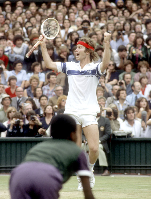 McEnroe celebrates match point against Borg at Wimbledon in 1981.