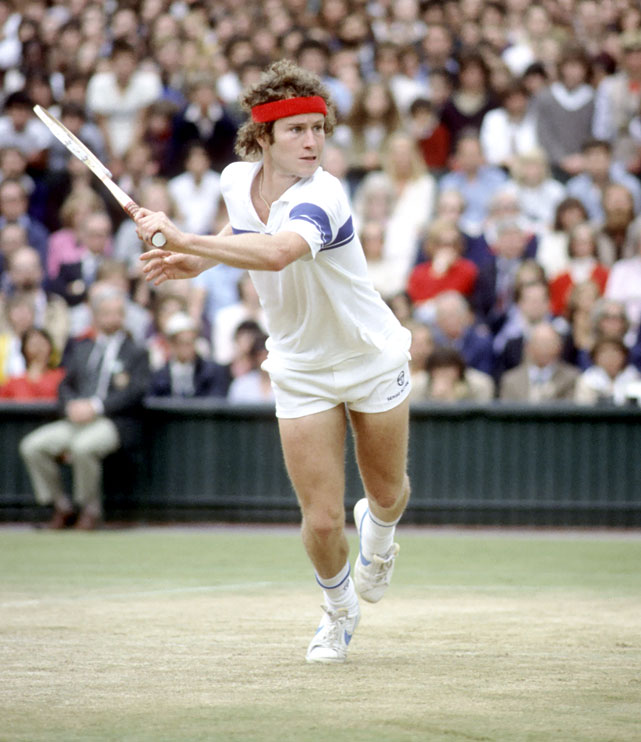 McEnroe returns to Borg at Wimbledon in 1981.