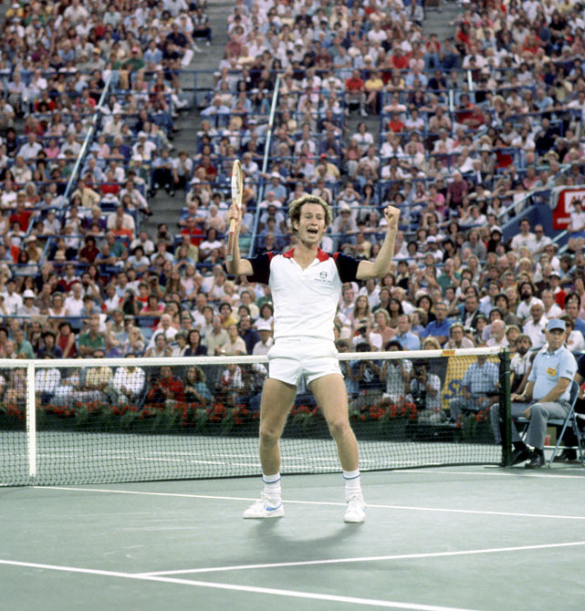 McEnroe celebrates after defeating Borg in the 1981 U.S. Open men's final.