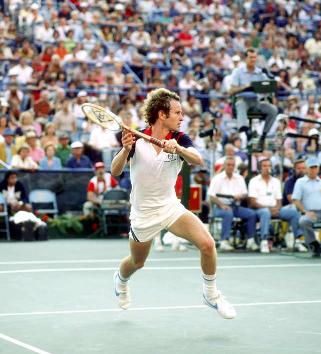 McEnroe returns to Borg during the 1981 U.S. Open men's final.