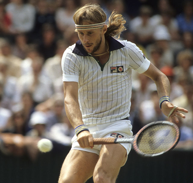 Borg returns to McEnroe during their first meeting in a Grand Slam final at Wimbledon in 1980. Borg won 1-6, 7-5, 6-3, 6-7 (16-18), 8-6 in one of the most famous matches in tennis history.