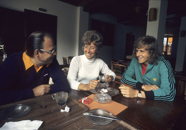 Casual portrait of Bjorn Borg with father Rune and mother Margareta at home in Basted, Sweden in 1974.